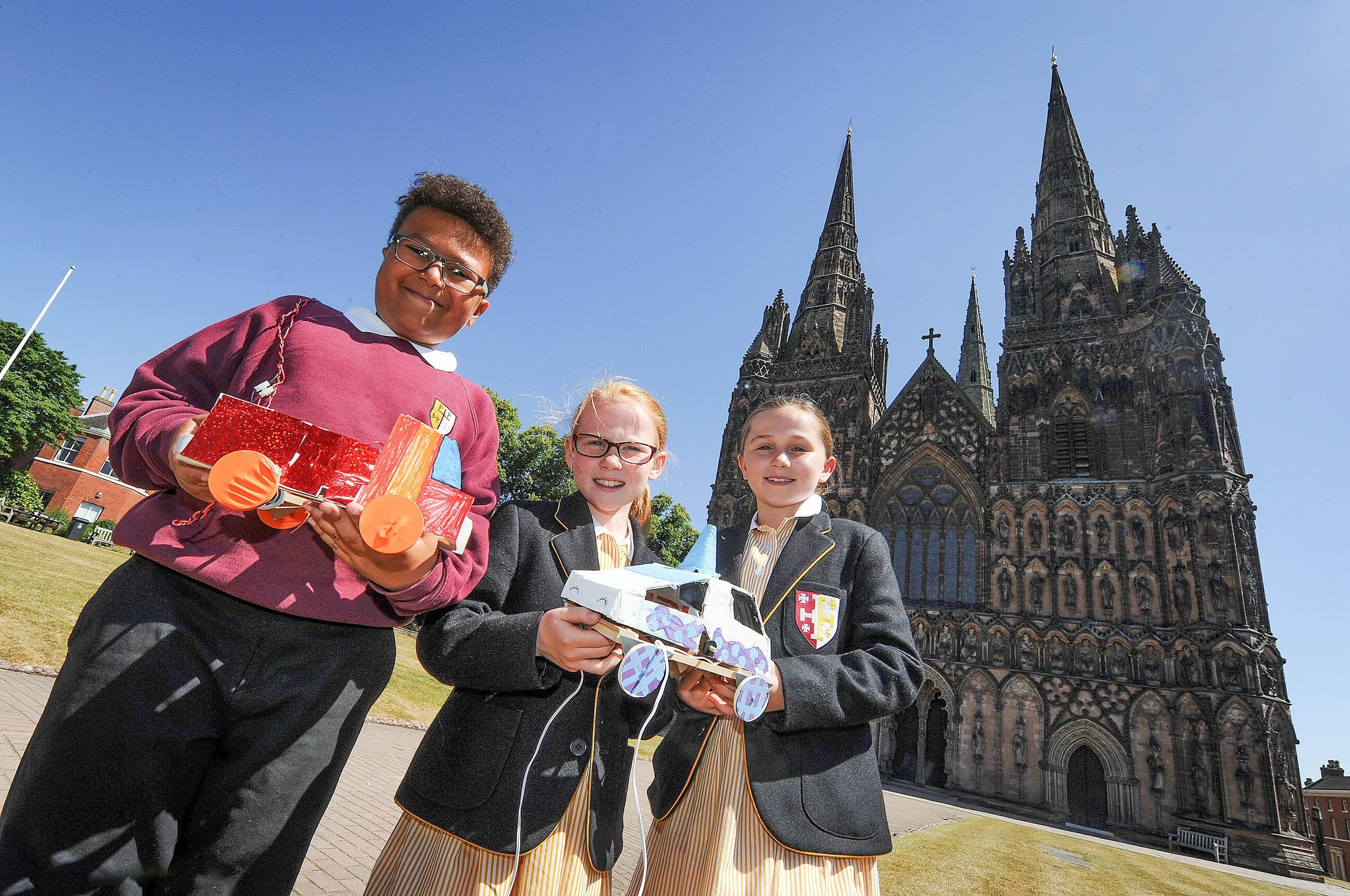From left to right David Machila, St Peter & Paul Primary; Harriet Winner and Lilly Winter LIchfield Cathedral School.jpg