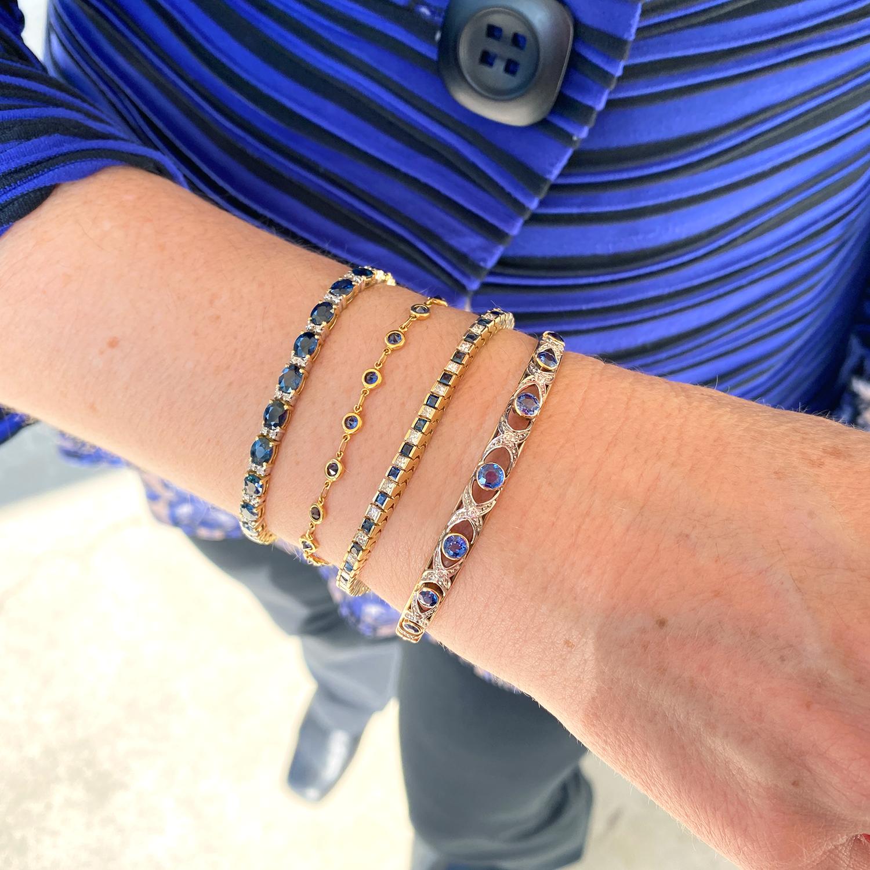 14kt Yellow Gold Princess Cut Sapphire Diamond Tennis Bracelet Antique Estate Jewelry Designs In Gold