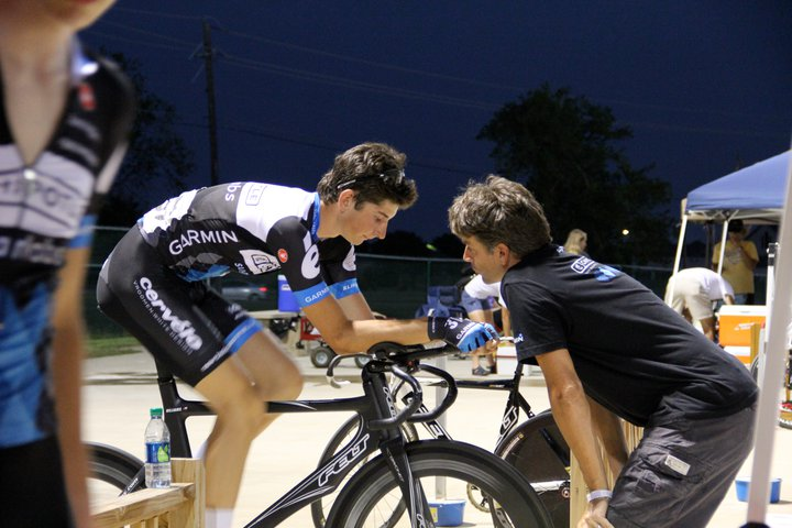 Track Nationals, 2011 - Head game prep w/ the head gamekeeper. I'm riding a hand-me-down one-off Felt prototype TT Bike factory converted into a track/pursuit setup for Taylor Phinney's World Record Individual Pursuit Run.