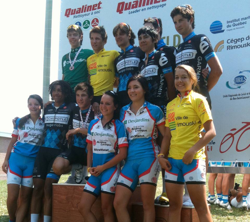 [top right] In our inaugural year as a team at our first international Stage Race, Le Tour de Rimouski, Canada. We won every stage with a different rider, the Yellow Jersey with our youngest rider, the Points Jersey (green) with our TT guy, and all the ladies' hearts. Our van broke down there and we had to leave it, so it wasn't all glitter and glory. - 2011