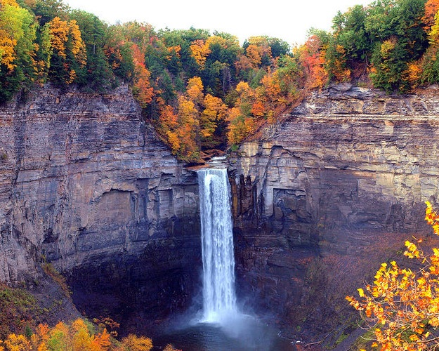 Taughannock Falls - The tallest waterfall east of the Rocky Mountains at 215 feet is 3 stories taller than Niagara Falls! Located in Trumansburg, NY, a quaint town with lovely eateries just 30 minutes north of Ithaca.
