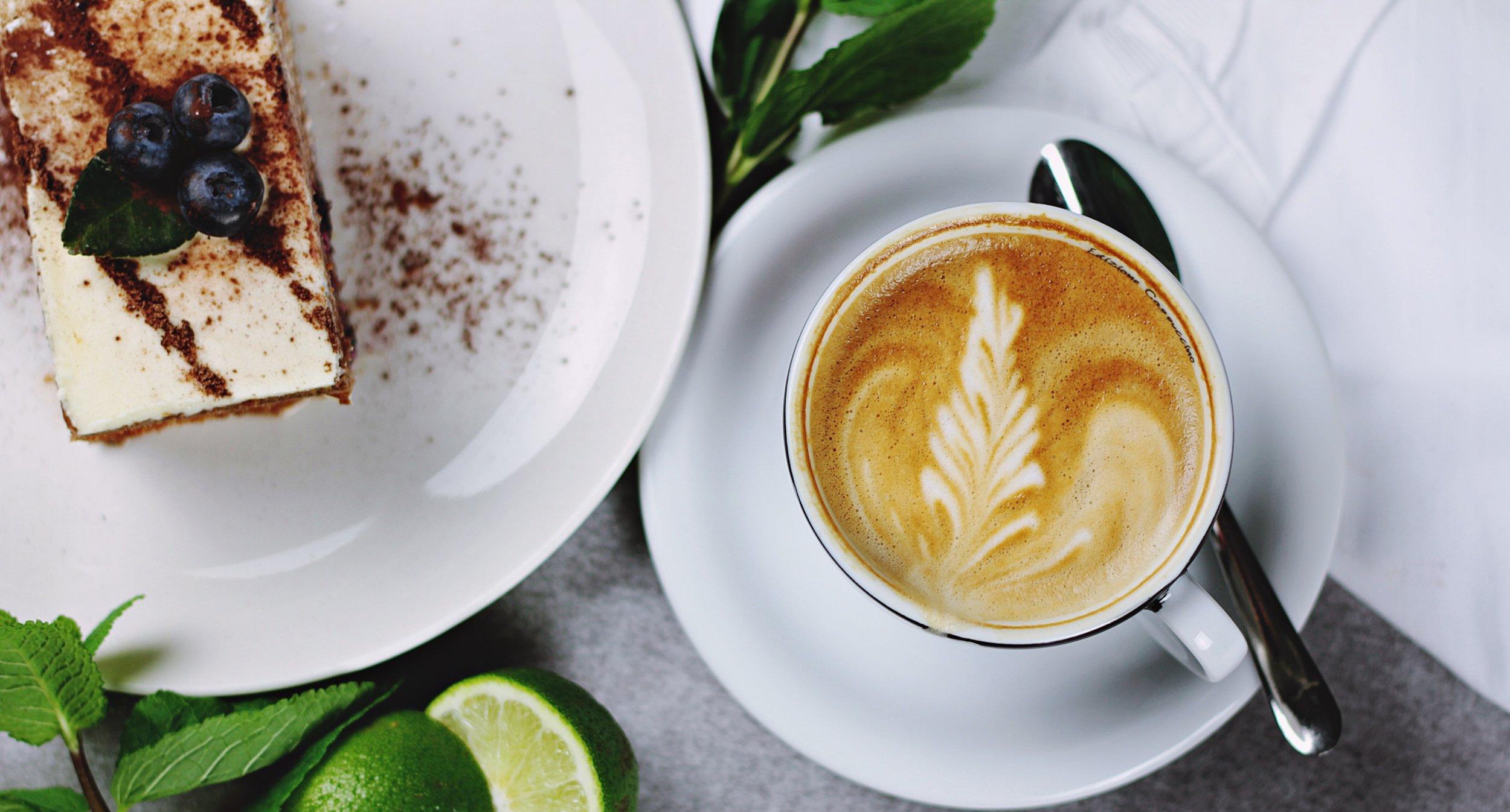 Tiramisu and cappuccino