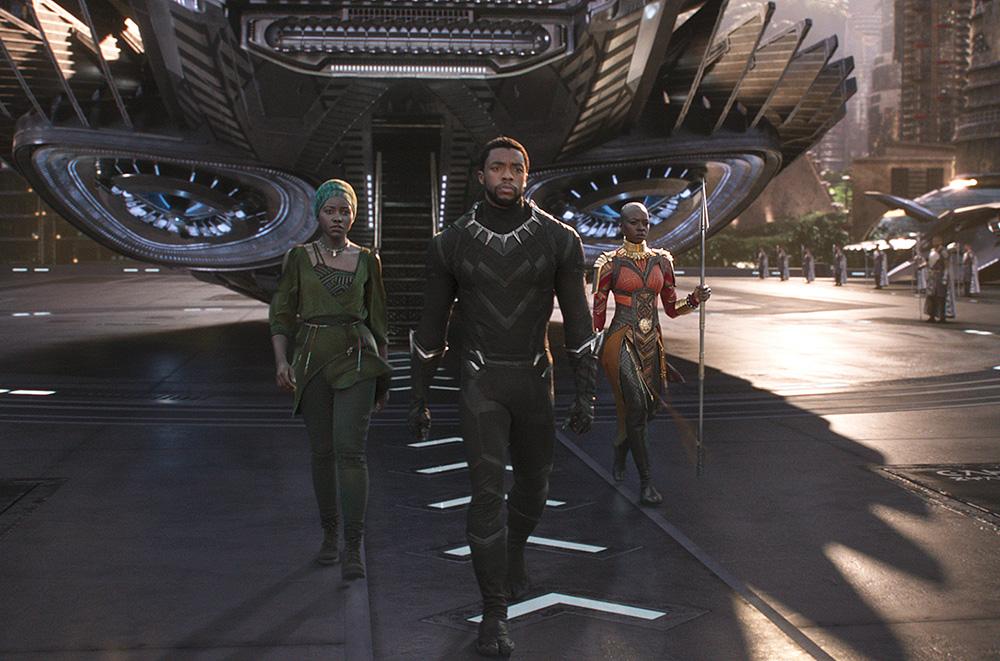 """Lupita Nyong'o, Chadwick Boseman, and Danai Gurira in """"Black Panther."""""""