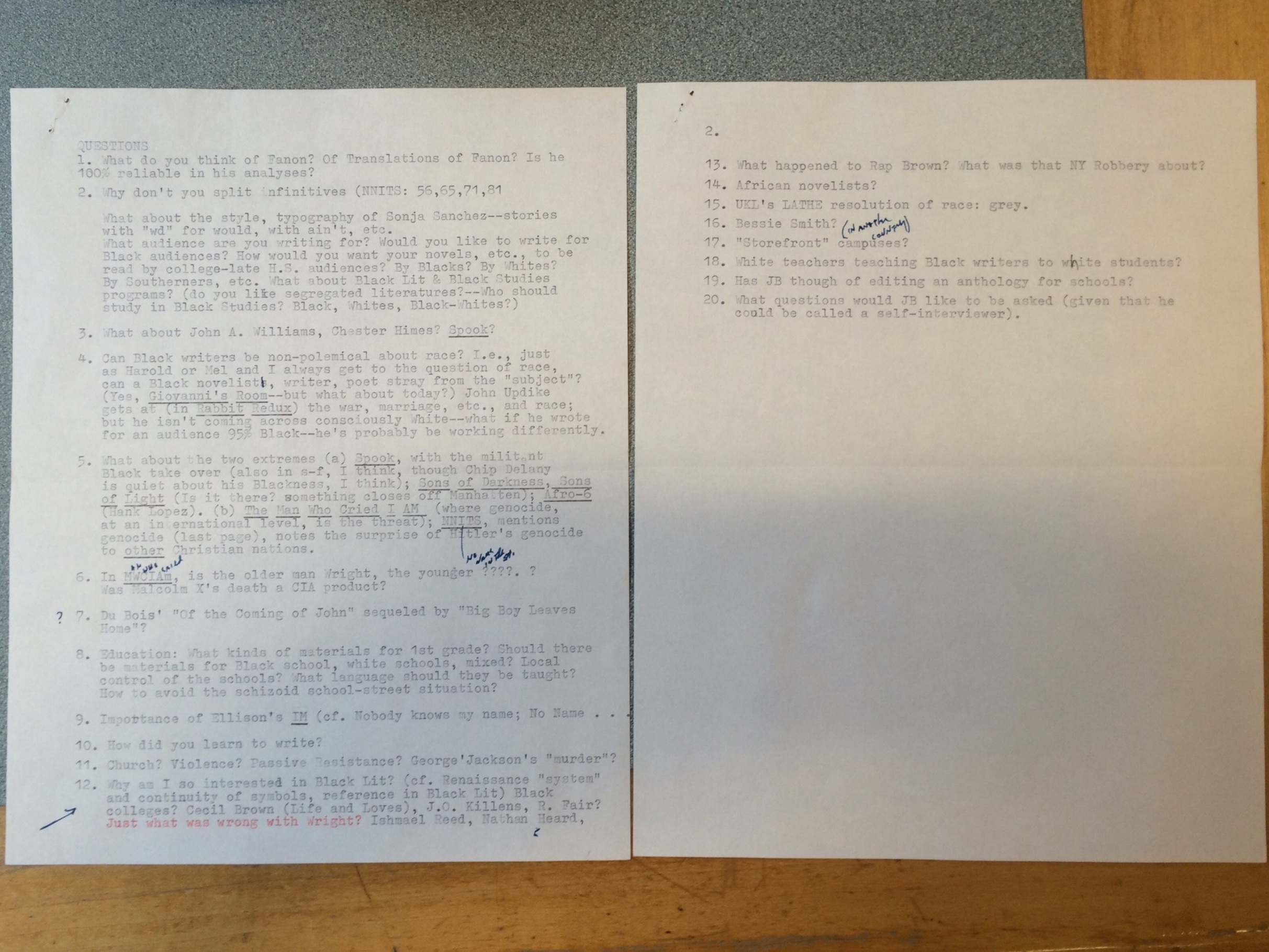 Two pages of questions, recently rediscovered, that Wolk brought to his interview with Baldwin.