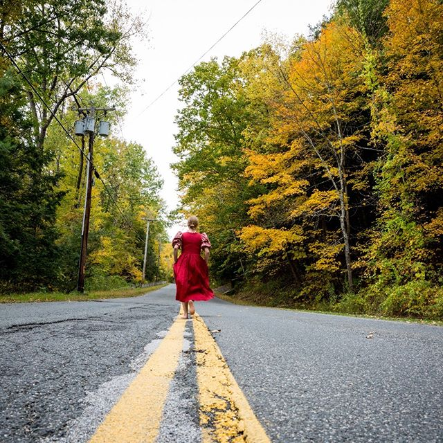 © Lisa Vollmer A Self-Portrait in the Berkshires. Fall Foliage, 2019. : : #fineartphotography #photography #selfportrait #canon #velo #fallfoliage #berkshires #yellow #red #road #trees #colors #culturalheritage #culturalexchange #german #american #countryroads