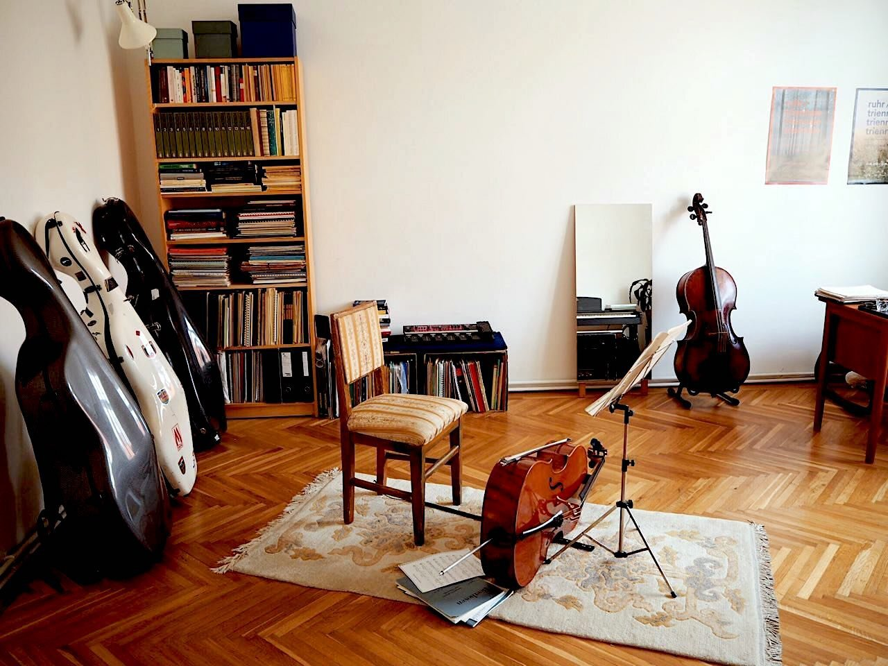 Prepare the instruments for a photo session  If your room has a piano, open the lid for both the top and keyboard. A cello, double bass or violin? Take them out of their cases and show them off!