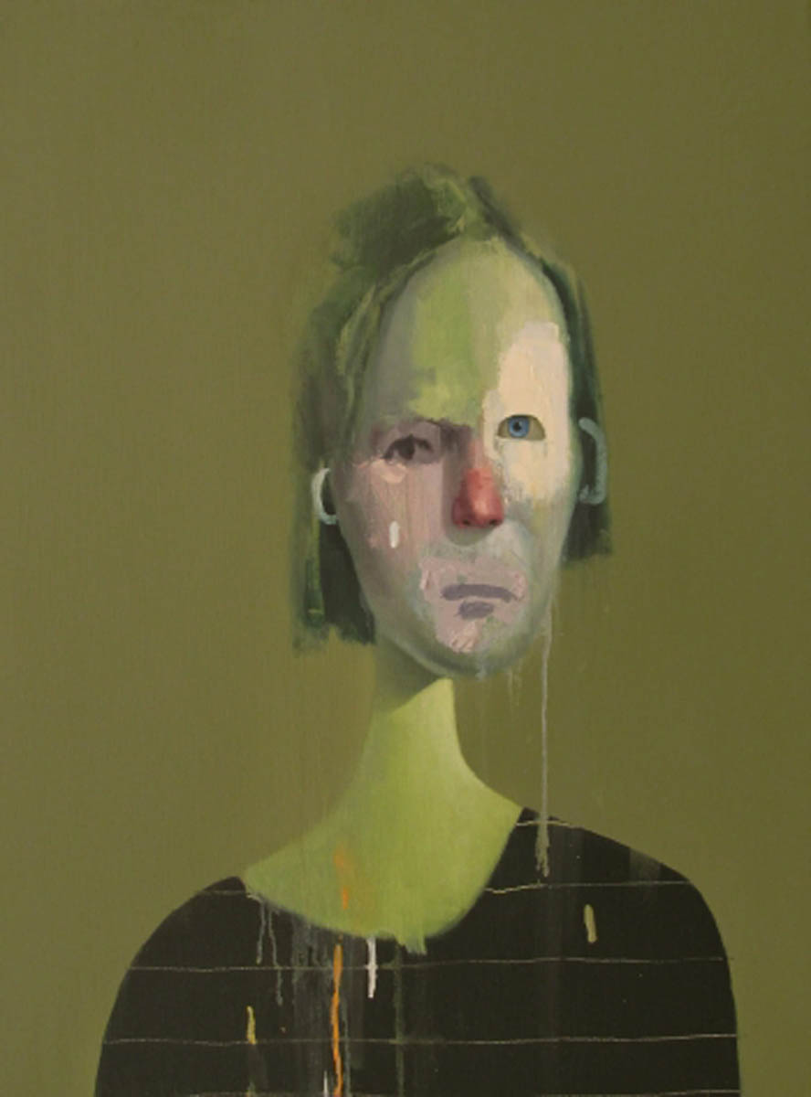 Untitled Portrait with Six Lines and Blue-Green Ear, 2011