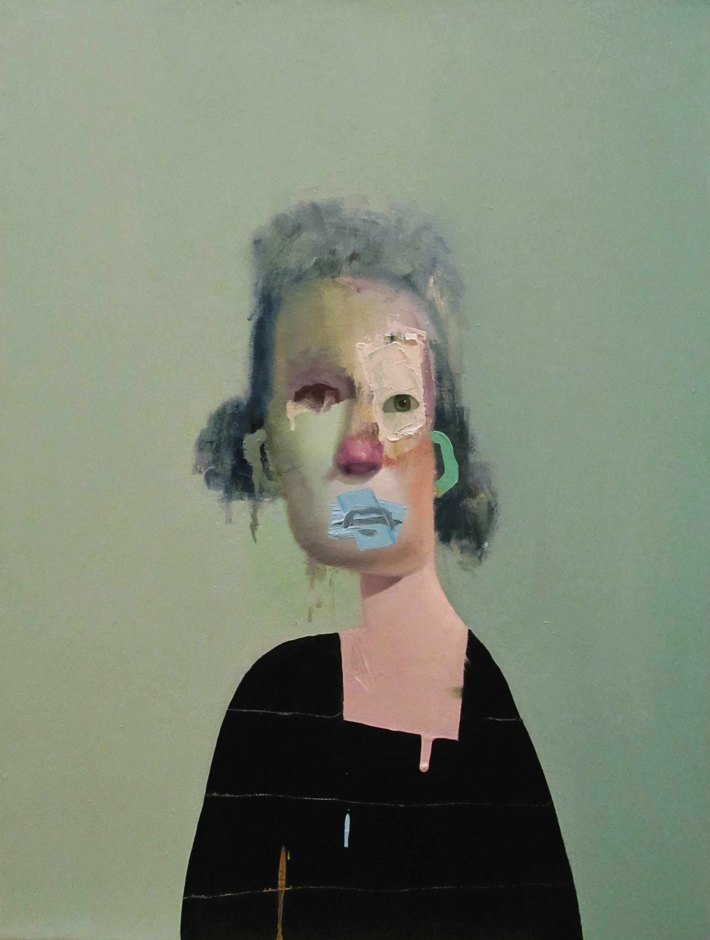 Untitled Portrait with Four Stripes and Green Painted Ear, 2014