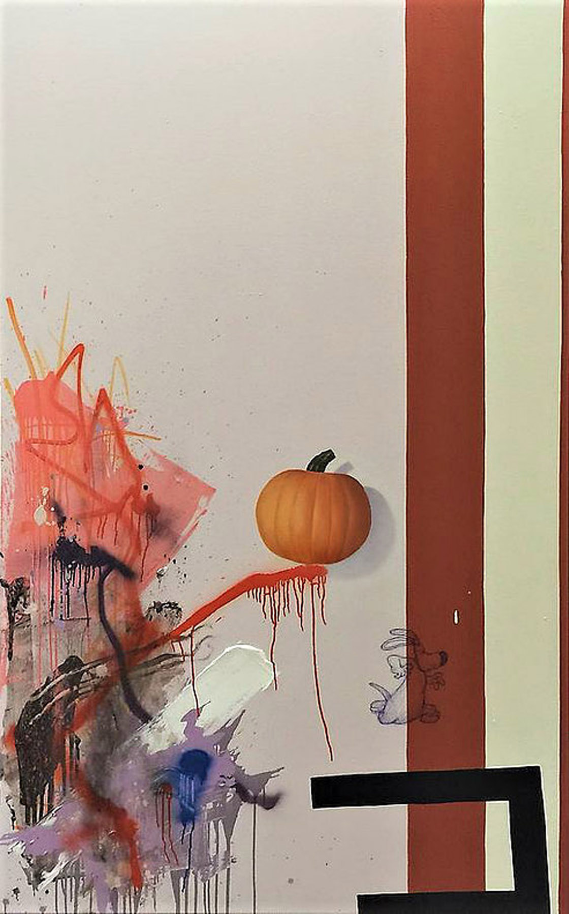 Still Life with Orange Drip and Painted Pumpkin, 2016