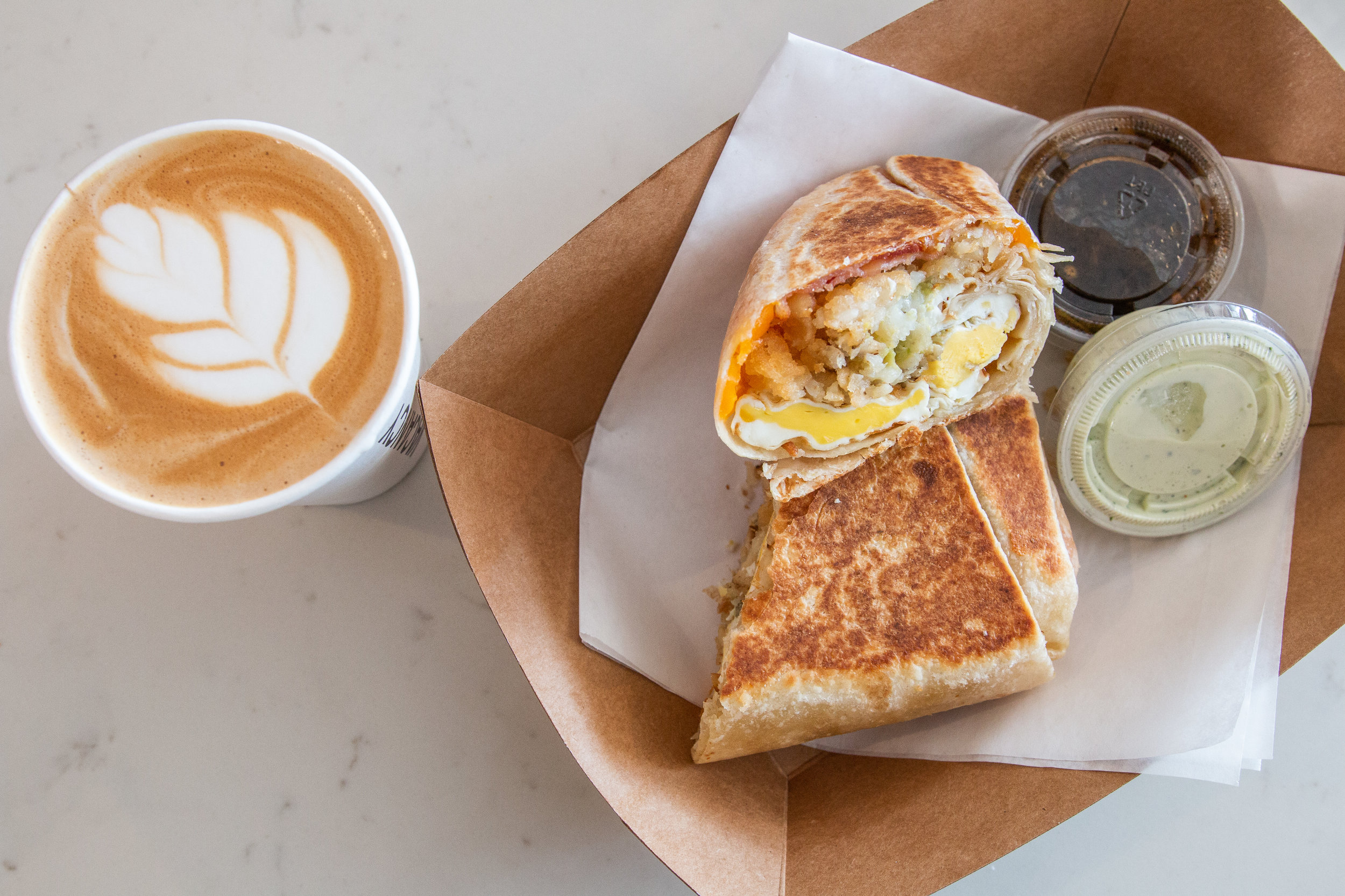 Vacancy Coffee Newport Beach delicious breakfast wrap