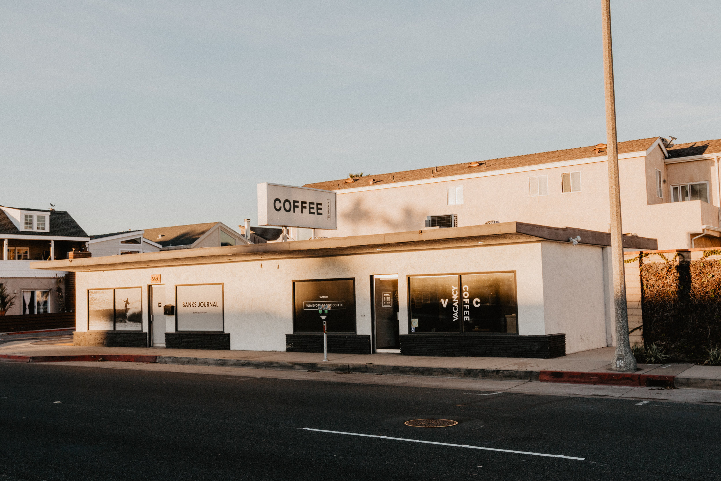 Vacancy Coffee Building on PCH in Newport Beach