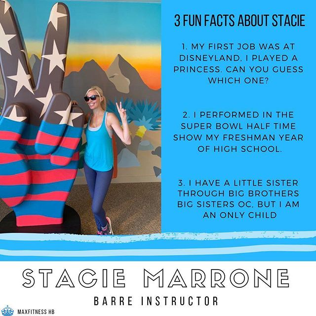 💙 MEET MAX FITNESS 💙  Meet Stacie - our newest barre instructor addition to the Max Fitness team!  Stacie has had a passion for health and fitness from a very young age. She started dancing when she was three years old and has been teaching barre for over 4 years.  She loves watching her students grow stronger and more confident with each class they take.  Stacie has a Masters in Fine Art and besides teaching, she loves to paint, cook and travel. She also has a love for all things pink and Hello Kitty! : : : #fitness #gym #fit #workout #motivation #bodybuilding #fitnessmotivation #love #instagood #training #fitfam #health #follow #lifestyle #like #healthy #gymlife #muscle #fashion #fitnessmodel #photooftheday #fitspo #life #photography #art #style #women #strong #instructor #certified