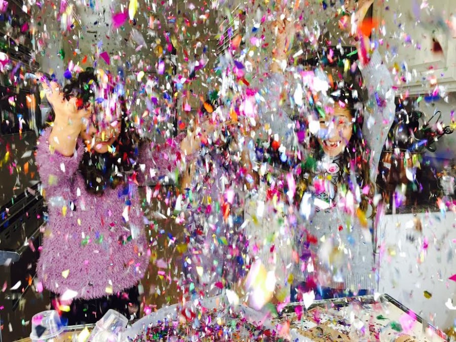 Whoa! It's raining confetti.