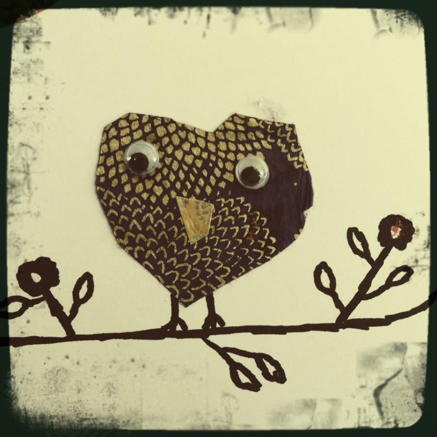 I used a heart shape to make my owl.