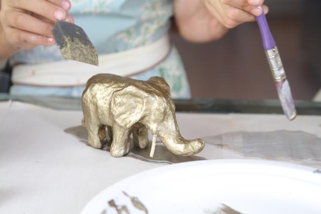 I chose an elephant to paint gold