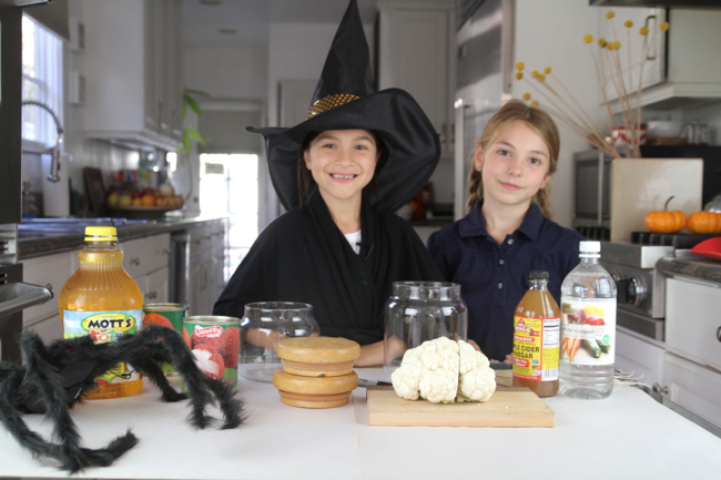 """Zoe & I prepare the ingredients for our spooky """"potions"""""""