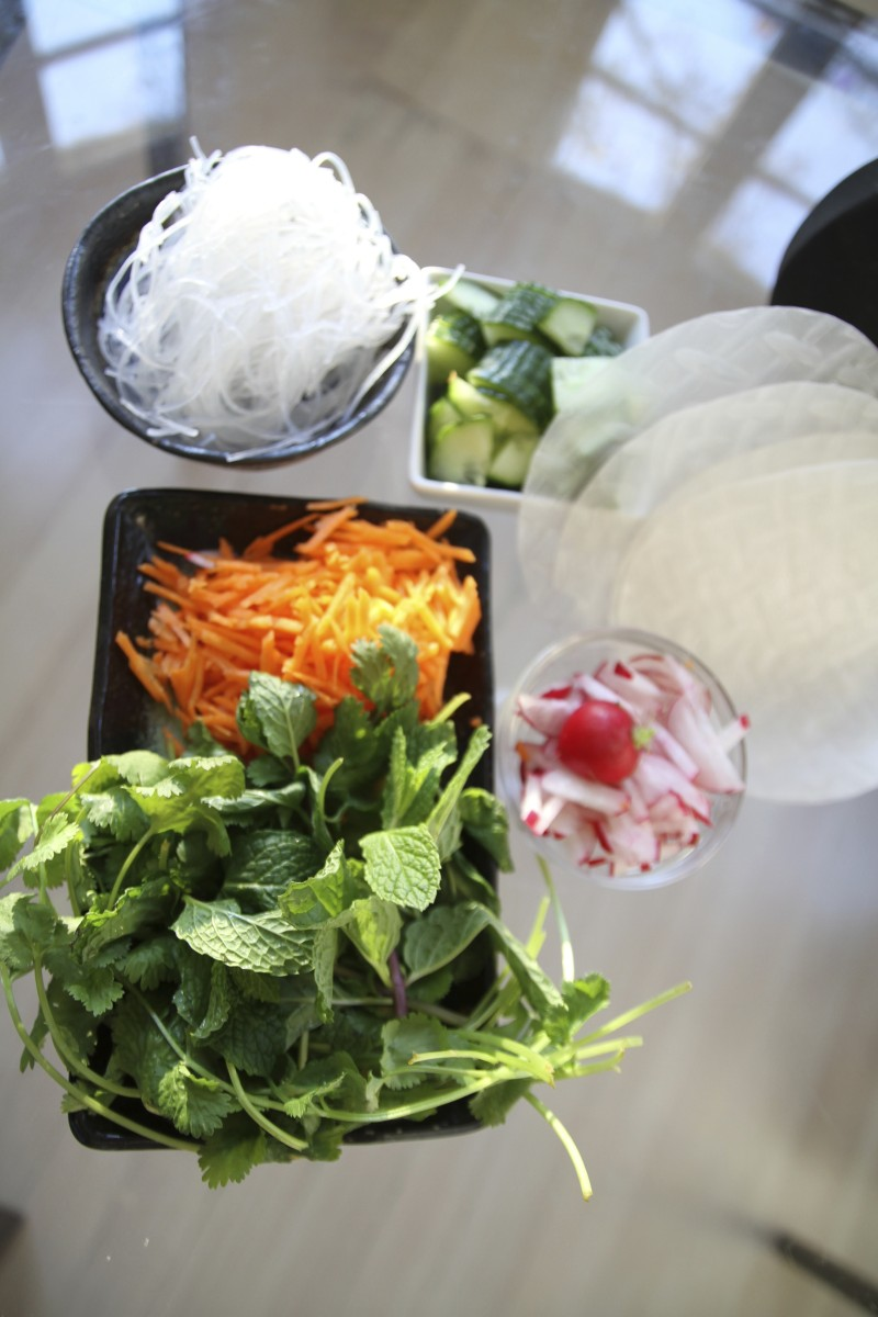 fresh vegetables, herbs and rice paper