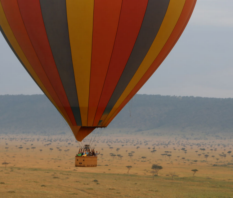 Hot air balloons fly over the Maasai Mara in Kenya