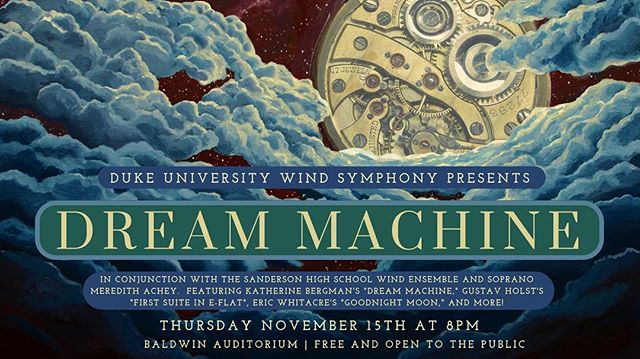 Next Thursday (11/15) is our joint concert with the Duke University Wind Symphony!! 8:00 at Baldwin Auditorium! See everyone there!!