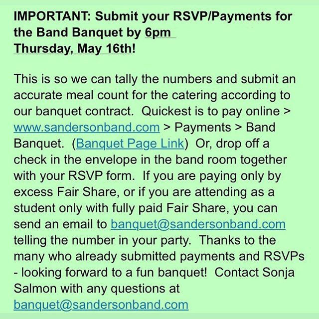 Band banquet RSVPs are due today!!!