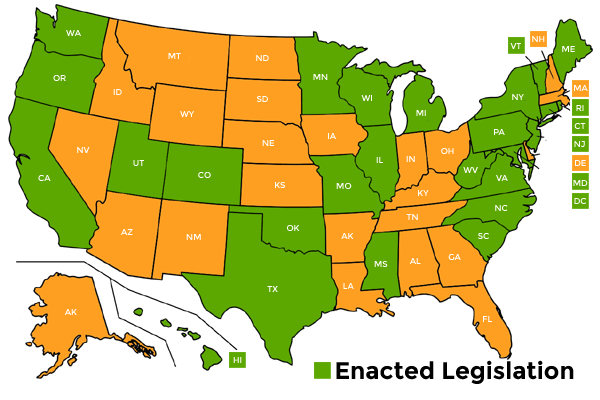 e-Waste Legislation - 25 states and the District of Columbia have enacted legislation establishing e-Waste, recycling requirements.