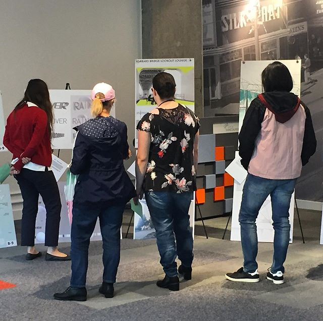 Our pop-up voting event at CityLab is underway! Just under one hour left to cast your ballot. Over 2 dozen ideas for rain-friendly public spaces shortlisted as part of the #LifeBetweenUmbrellas design competition. CityLab, 511 W Broadway at Cambie, 11-2pm.