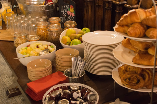 Breakfast is Served! Continental Breakfast complete with fruit, yogurt, cereal and pastries.