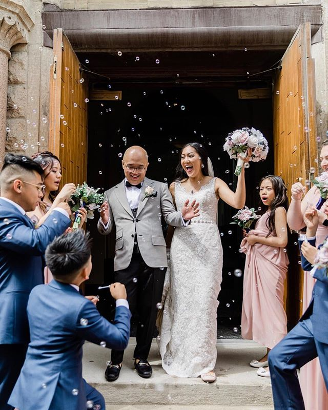 The exciting feeling the moment after the ceremony! • @jeppin @j3ssigurl • Jeff fully dressed in his custom suit • •Great shot @charmainemallari this happy moment• 💍