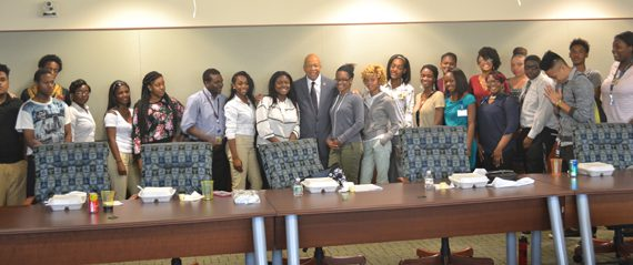 Congressman Elijah Cummings with AHEC Summer BioScience Internship High School Students