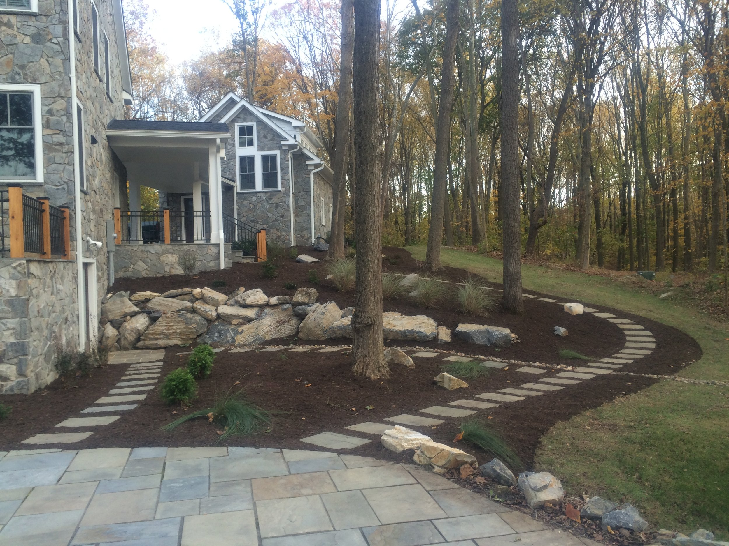 Landscaping - -Mulching-River Stone-Edging-Design-Install/removal