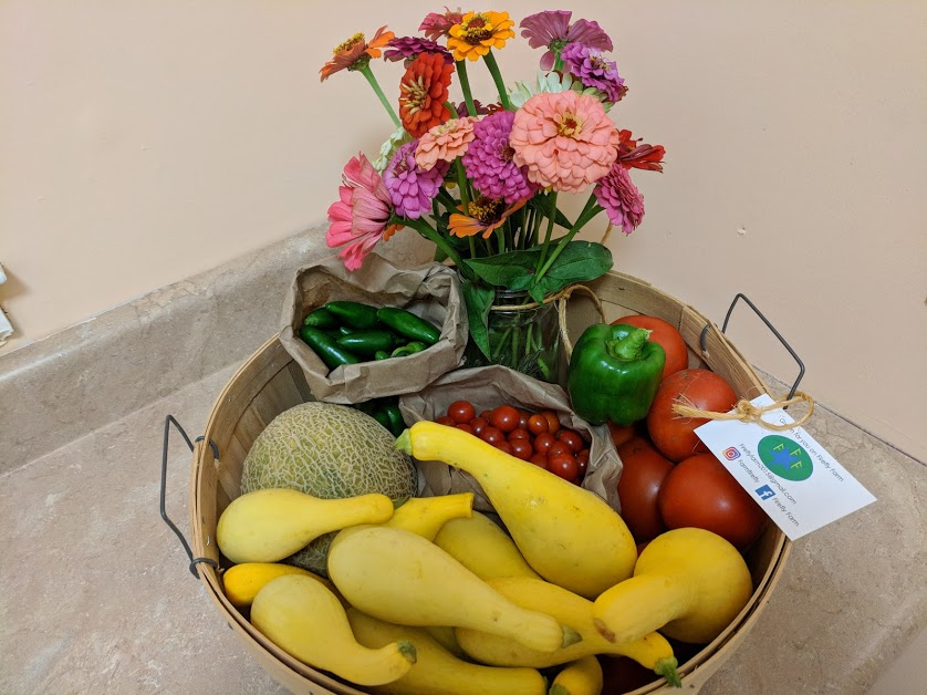 We can make up a Basket of Goodness full of your favorite veggies along with beautiful flowers.