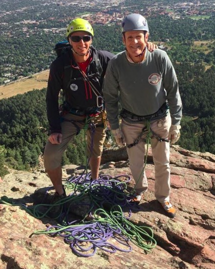Tom & his guide in Colorado (now 72)     Follow his adventures here:   http://www.boomerclimber.rocks/