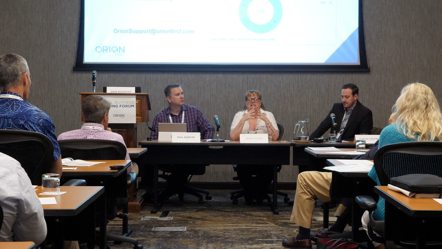Panelists (L-R)   : Paul Marcoe, CTO, Orion First; Jenny Wood, SVP Client Services, Orion First; Curtis Costner, VP, Marketing, Orion First