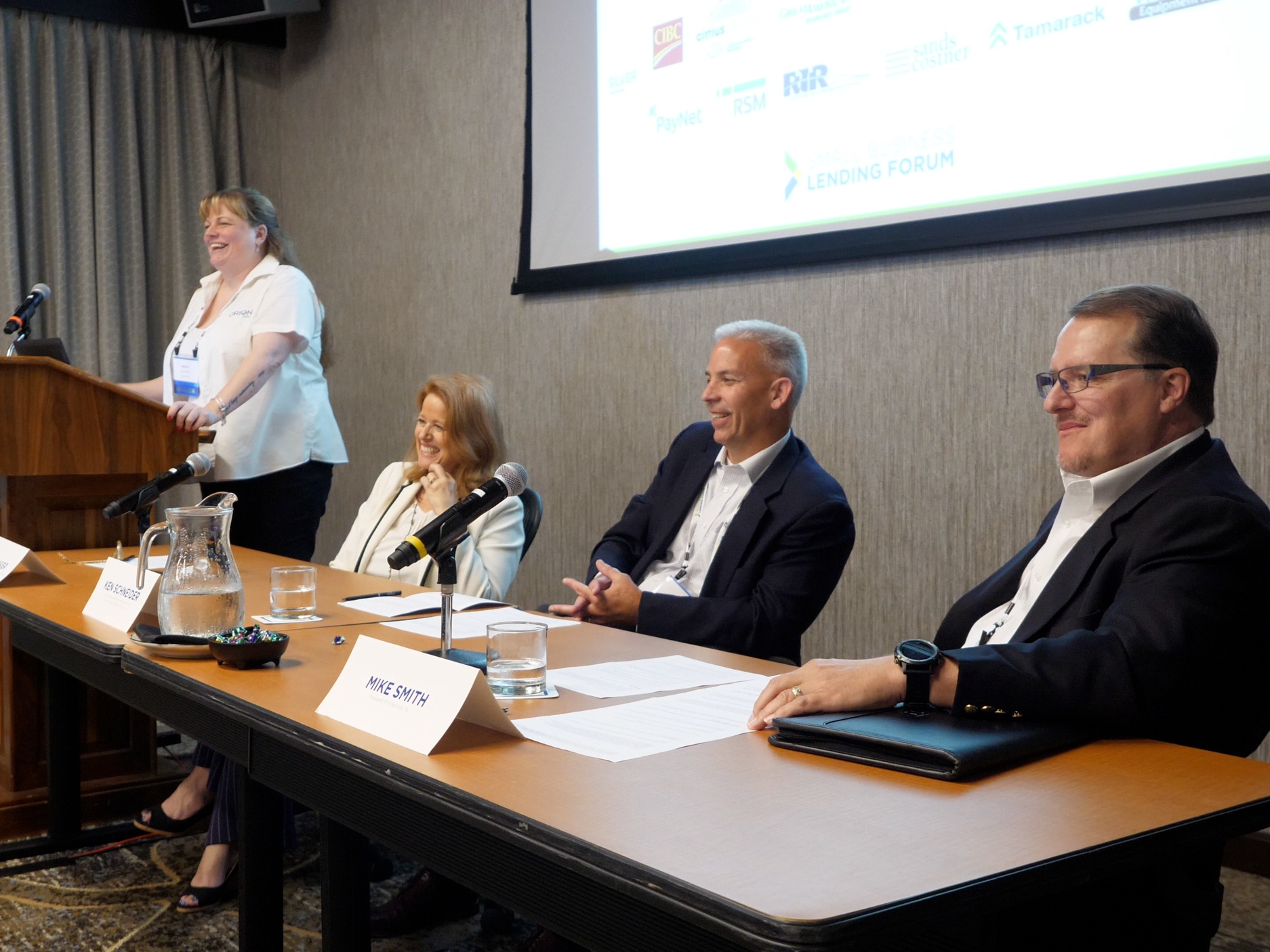 Moderator (Far Left)   : Jenny Wood, SVP, Client Services, Orion First     Panelists (L-R)   : Lori Frasier, SVP, Strategy and Performance Management, Key Equipment Finance; Ken Schneider, SVP, Business Development and Underwriting, Great American Insurance Company; Mike Smith, President, RTR Services