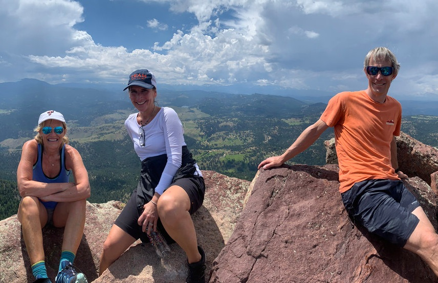 Attendees enjoying a hike.    (L-R)   : Lisa Rafter, Publisher,  Monitor ; Jaimie Haver, CLFP, SVP, Operations Manager, Hanmi Bank; Steve House, World-Renowned Mountaineer