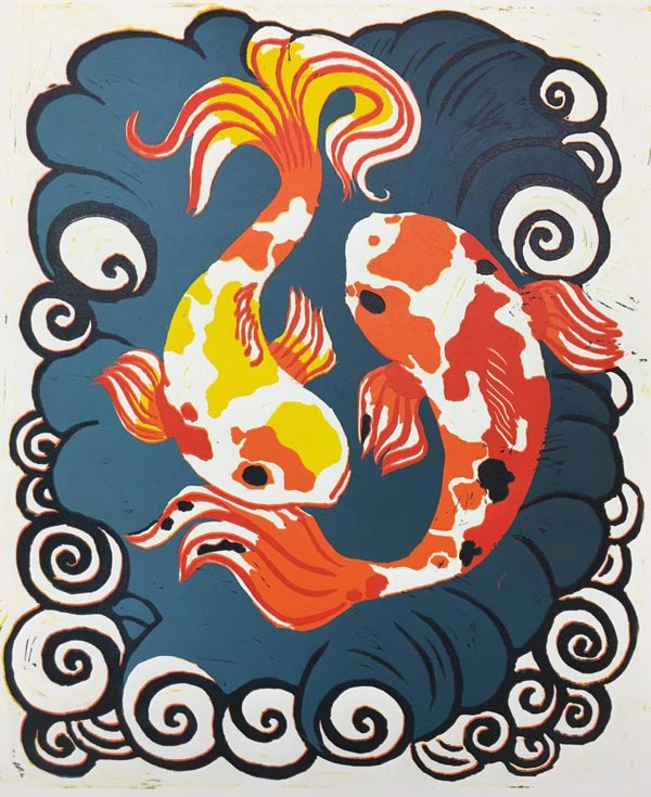 Five-Color Koi Fish Reduction Linocut Print by China