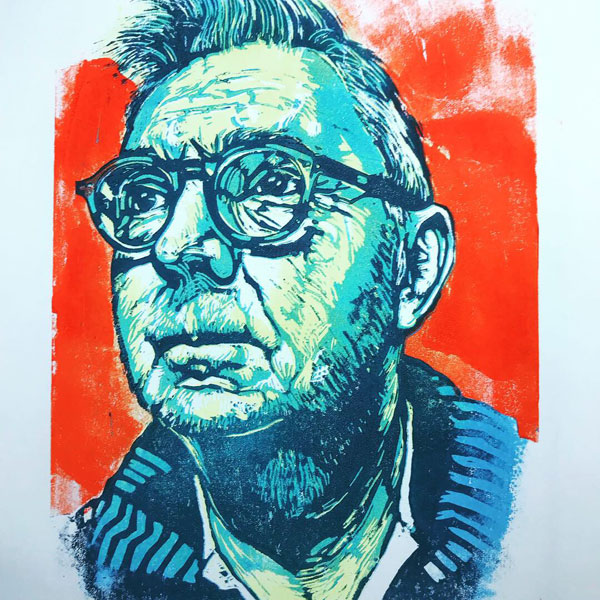 Lino Print self-Portrait by steve Bennett