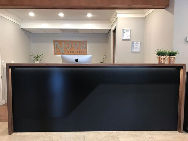 We recently had a chance to update our reception desk, and apparently we are in love with waterfall gables!