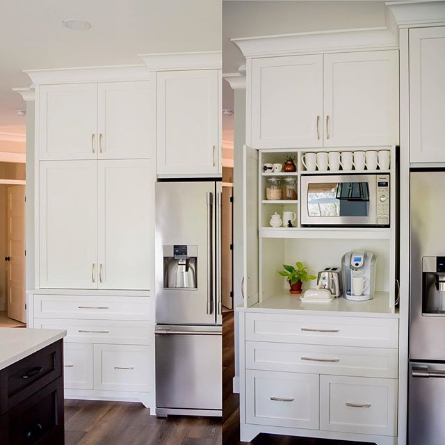 What a great way to hide your small appliances!  #kitchencabinets #kitchendesign #customcabinets #interiordesign #cabinets #cabinetmaker #kitchensofinstagram #kitcheninspo #kitchenideas