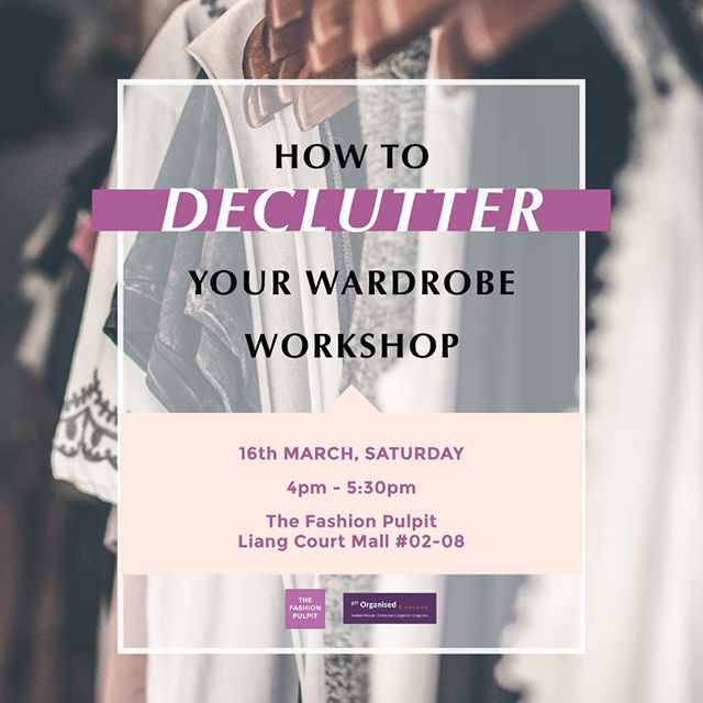 Wardrobe Bliss Part 1: Declutter Your Wardrobe⁣ Hosted by The Fashion Pulpit and Get Organised & Beyond⁣ ⁣ Do you feel overwhelmed by all the clothes you have in your wardrobe? Or even struggle to let go of your clothes thinking one day they might fit you?⁣ ⁣ In this 90-minute workshop, professional organiser Nathalie Ricaud, founder of Get Organised & Beyond, will teach you how to confidently declutter your wardrobe without regretting any decisions. You will be left with a functional wardrobe full of clothes you'll definitely wear and will make you feel empowered. ⁣ ⁣ With Nathalie, you will learn:⁣ ⁣ * How to get started and to keep going when the decluttering gets tough ⁣ * Tips and tricks to make decluttering as smooth and stress-free as possible* A comprehensive series of questions, beyond Marie Kondo's spark joy criteria, to help you decide what to keep.* How to gently challenge yourself when you come up with excuses for holding onto your clothes. ⁣ ⁣ To top it all, you'll leave this workshop inspired to declutter your wardrobe and equipped with the tools you need to make it happen. ⁣ ⁣ Workshop Fee: $50. Attend the first 2 workshops and get 60% off for the 3rd one. ⁣ Catch you guys on the 16th of March! Let's #konmari and #sparkjoy⁣ ⁣ ** This workshop is the first of a three-part series and will be followed by ORGANISE YOUR WARDROBE (part two) and MAINTAIN YOUR WARDROBE ORGANISED (part three). ⁣ .⁣ .⁣ .⁣ .⁣ .⁣ #declutter#wardrobedeclutter#iswappedmyclothes#swapdontshop⁣#wardrobeessentials#ootd#wardrobestylist#secondhandfirst#sustainablebrand#sustainablefashionblogger#sustainablefashionista#decluttering#sustainablestyle#sustainablebeauty#declutter#lessismore#reducereuse#lesswaste#closetorganization#mariekondo#konmarimethod#closetgoals⁣ ⁣ ⁣ ⁣