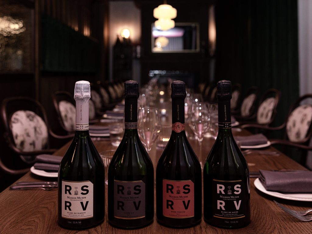4-course paired dinner with Maison Mumm's reserved collection of champagnes