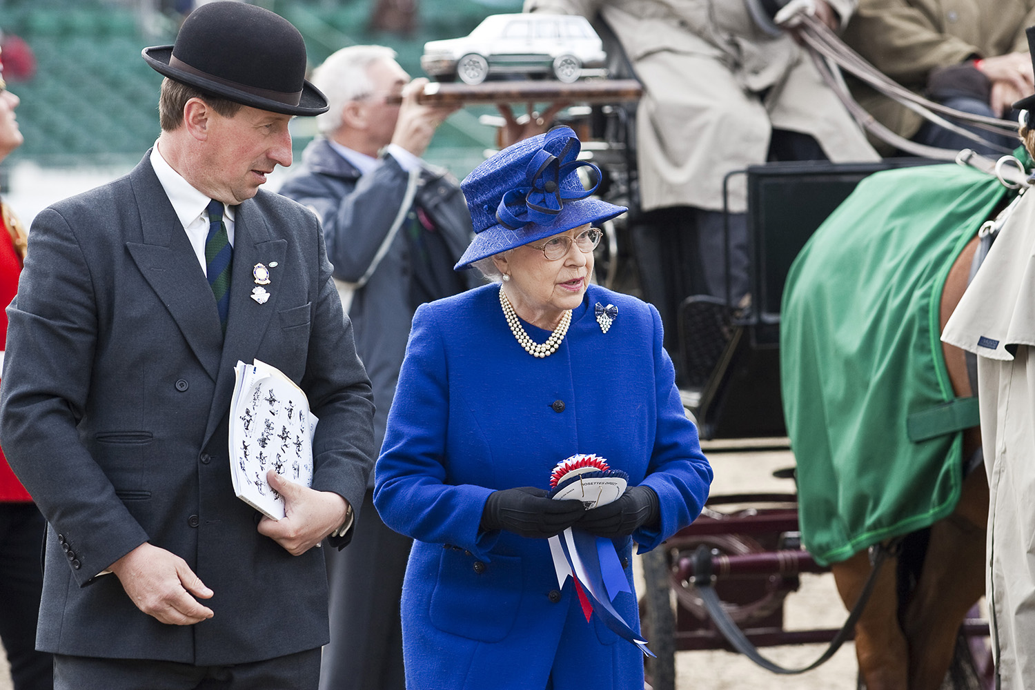 HM The Queen and my catalogue for Royal Winsor Horse Show 2009