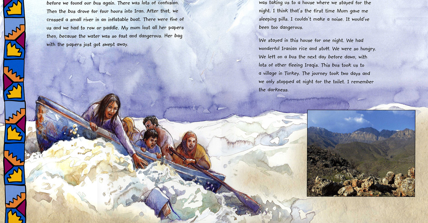 'Mohammed's Journey' from the 'Refugee Diaries' by Anthony Robinson published by Frances Lincoln Ltd.