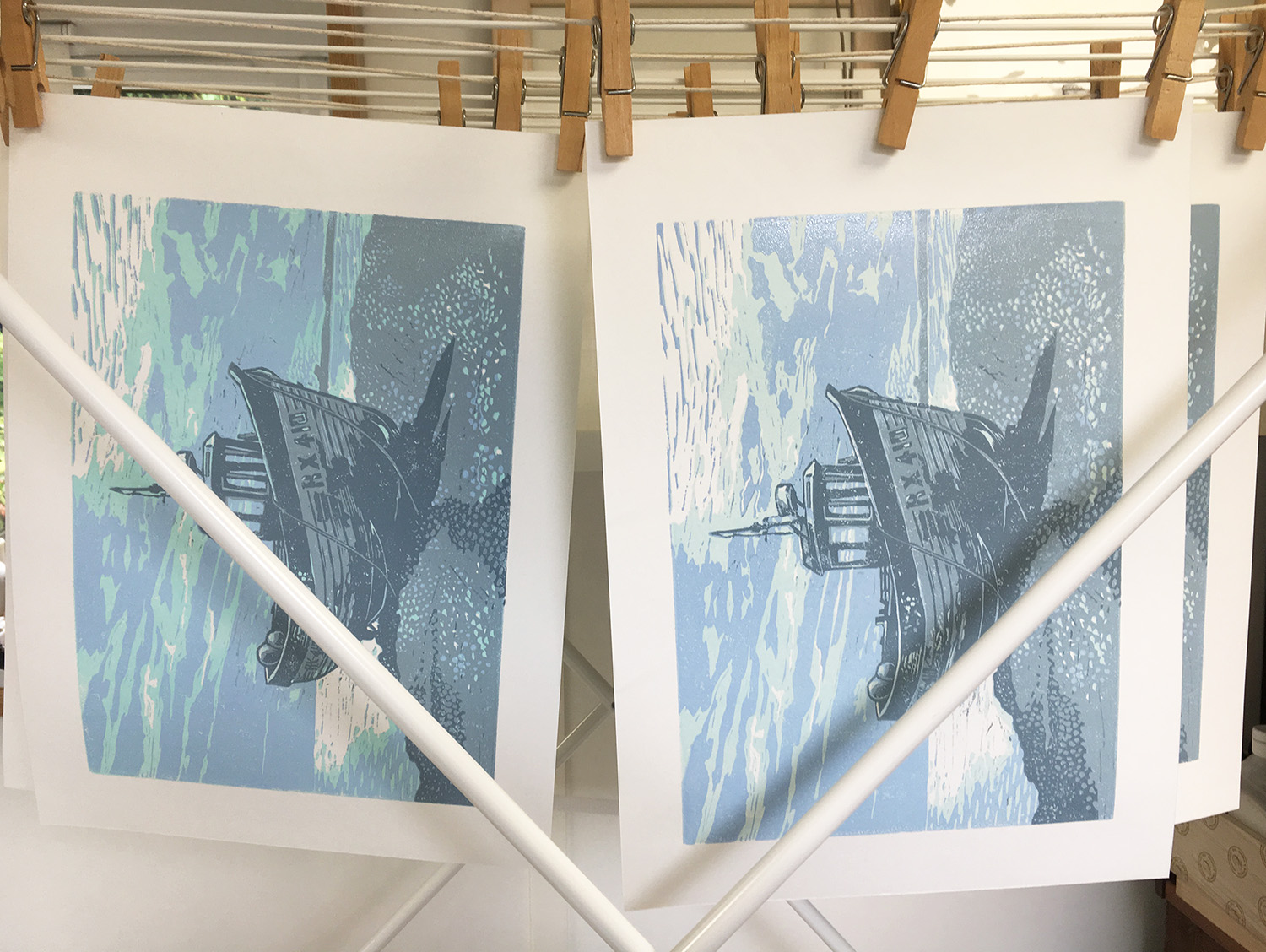 Linoprints hanging out to dry.