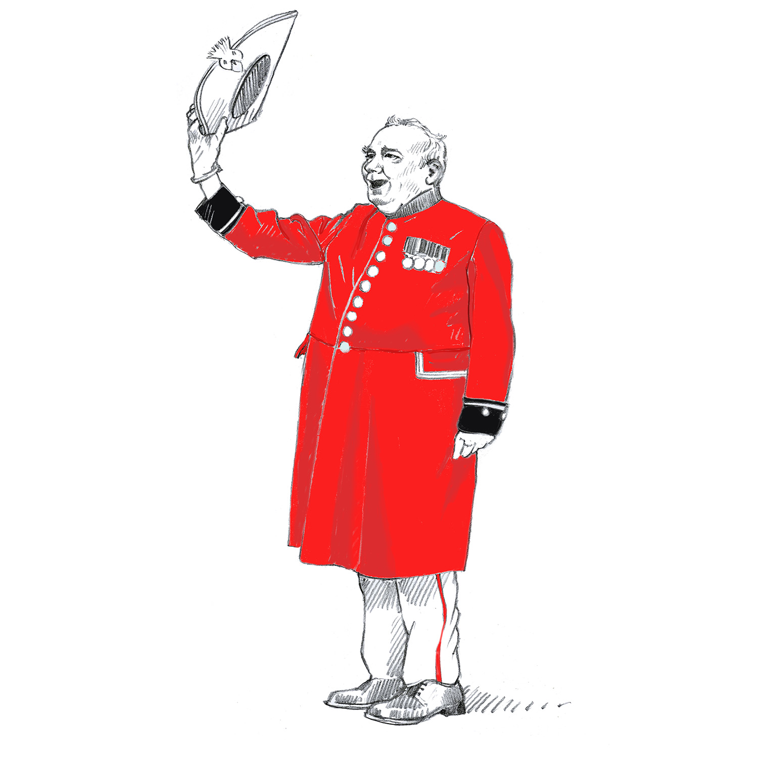 Chelsea Pensioner at Royal Hospital Chelsea. Three Cheers for the founder.