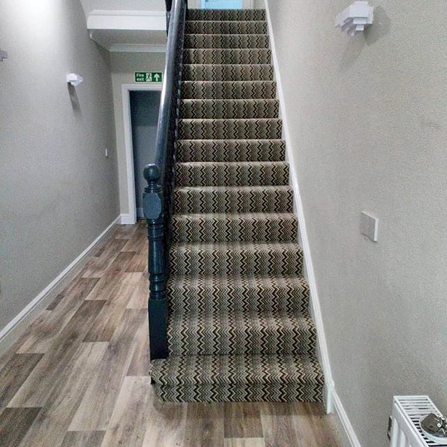 Completed stair & landing carpet. Supplied and fitted by concept carpet warehouse. #staircarpet #carpet #carpetinstallation #stripedcarpet