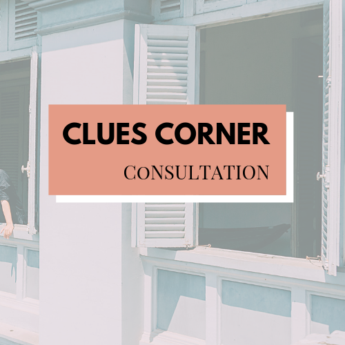CLUES CORNER - This is perfect for those who just don't know what to do and where to start.You feel clueless and do not know what abilities to focus on?Are happy to be asked the right questions to clarify the clues in front of you. Our consultation will help you walk away from being clueless! Helping you to cross your T's and dot your i's.1 session including an outline of action plans to follow.3 sessions including an outline of action plans to follow, workbook and catch up voice notes. (monthly booking)1 hour £50.00, 3 sessions £200.00 via Zoom/Skype*Clarity session required to confirm suitability. *