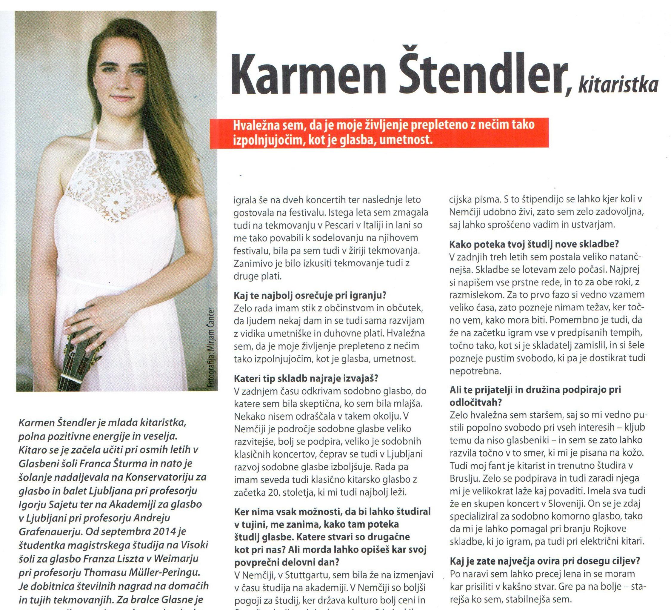 Karmen Štendler, kitaristka / Interview - Ana Milošević, Glasbena revija