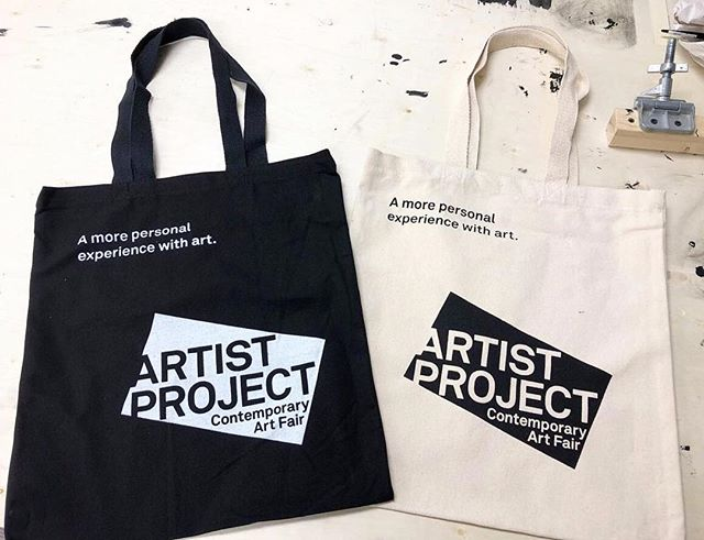 @aftermodernlab, colleagues and I got to screen-print tote bags for Artist Project Toronto! Getting the job done!  Thank you! 📷 @vickyto - #jobdone #toronto #artistproject #totebags #screenprinting #designproduction