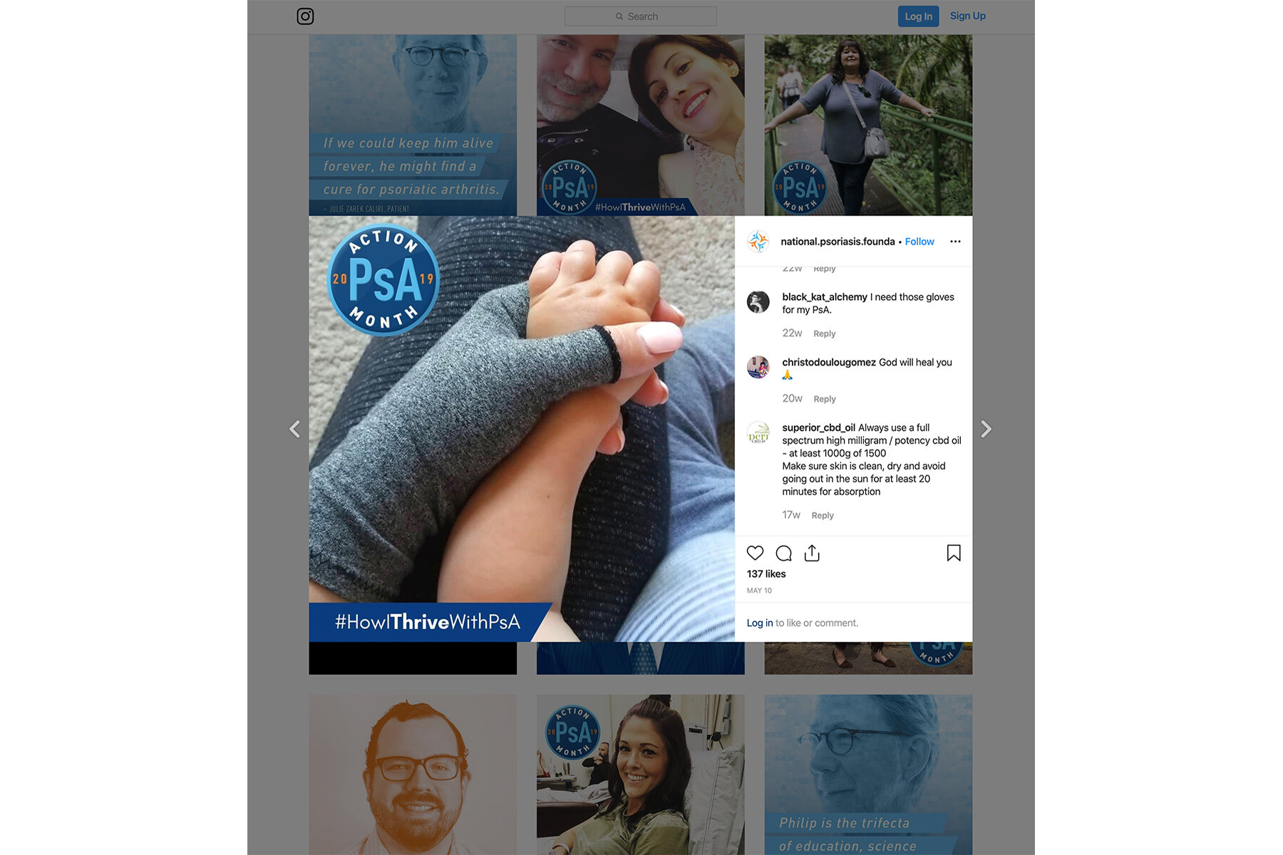 PsA Action Month Badge in use on a branded Instagram post.